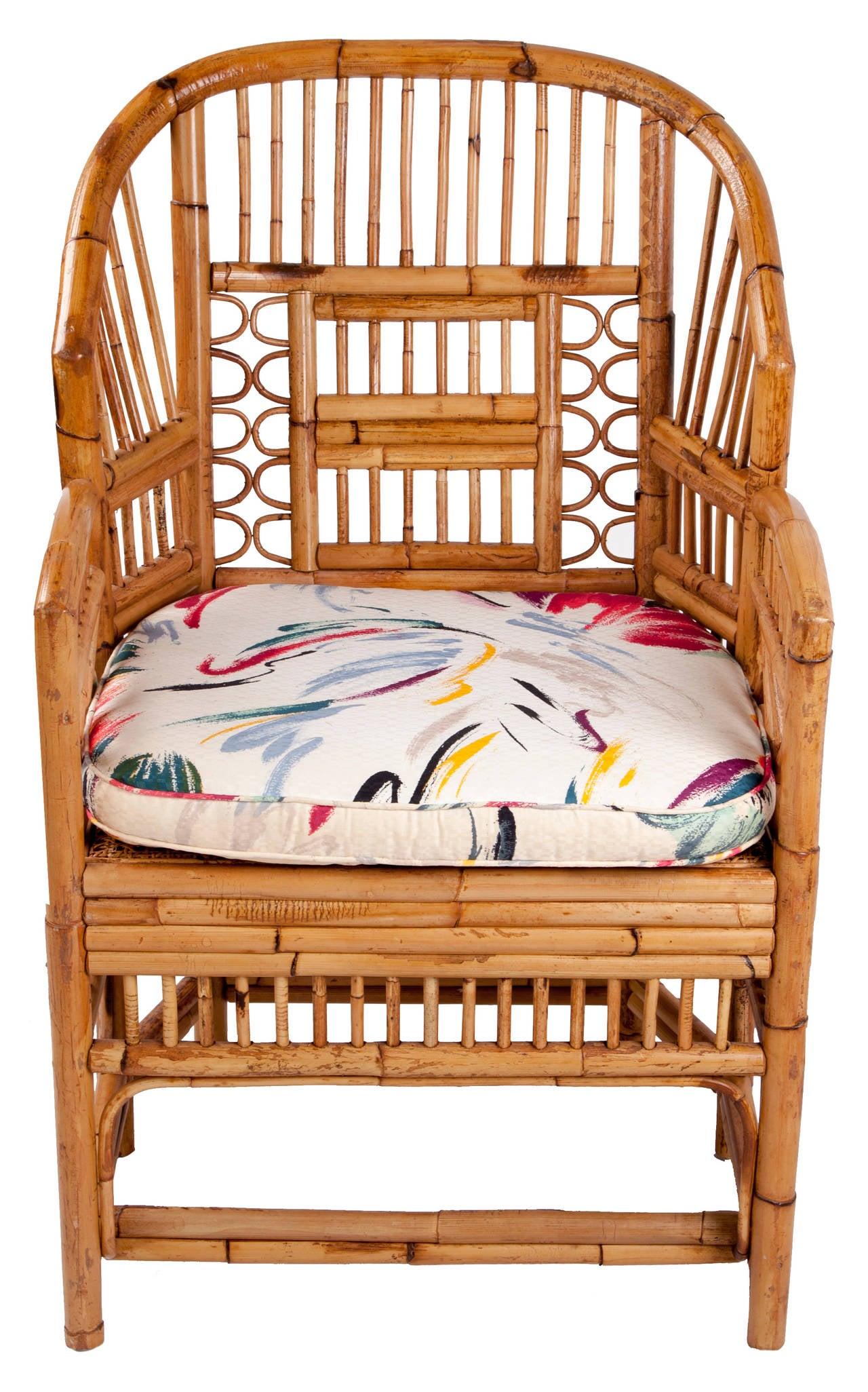 Mid Century Six Leg Rattan Armchair For Sale at 1stdibs