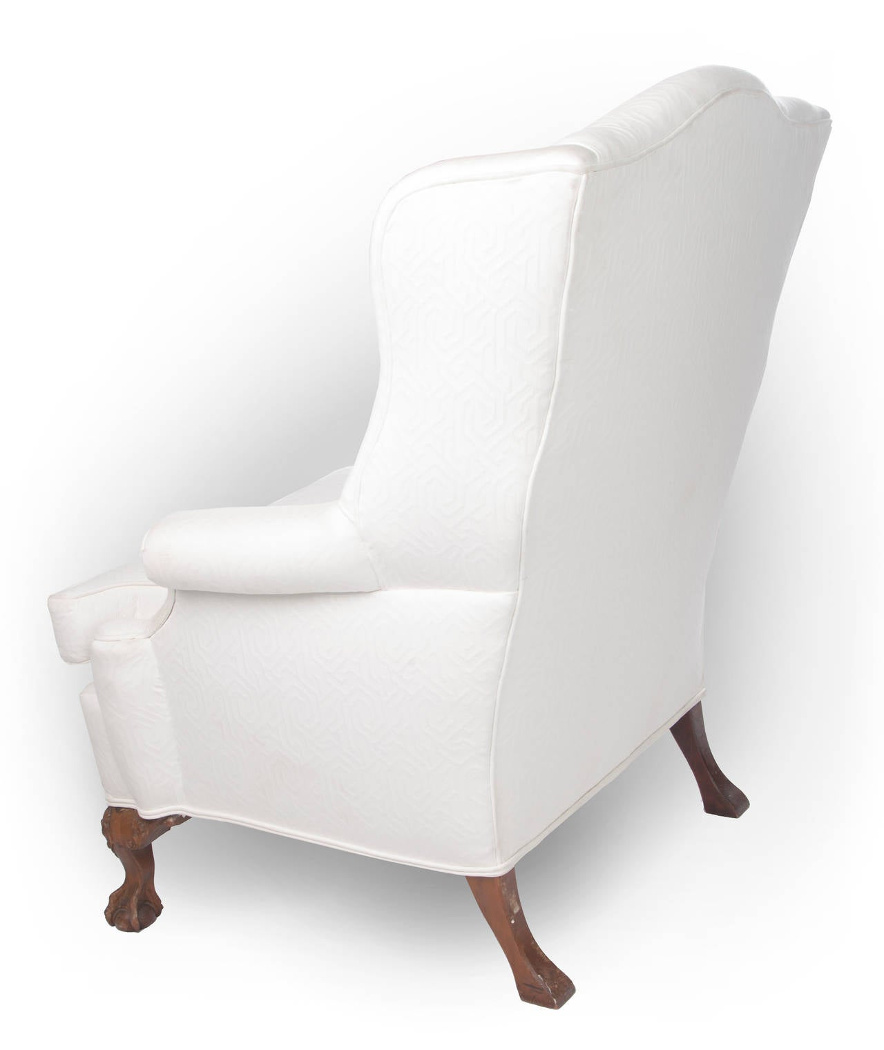 Wingback Chair On Claw And Ball Foot Mahogany Frame For