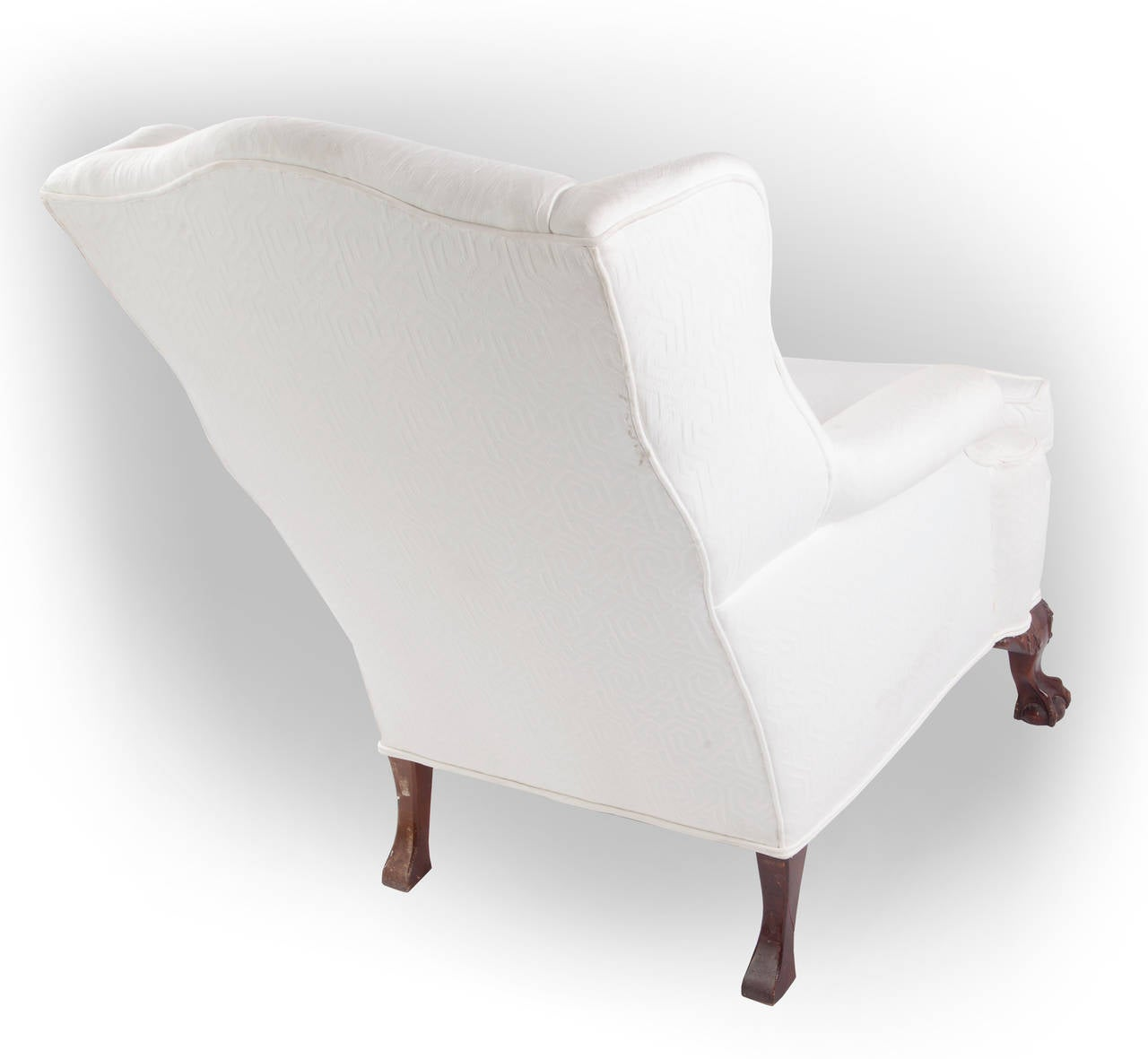 Mid-20th Century Wingback Chair on Claw and Ball Foot, Mahogany Frame For Sale