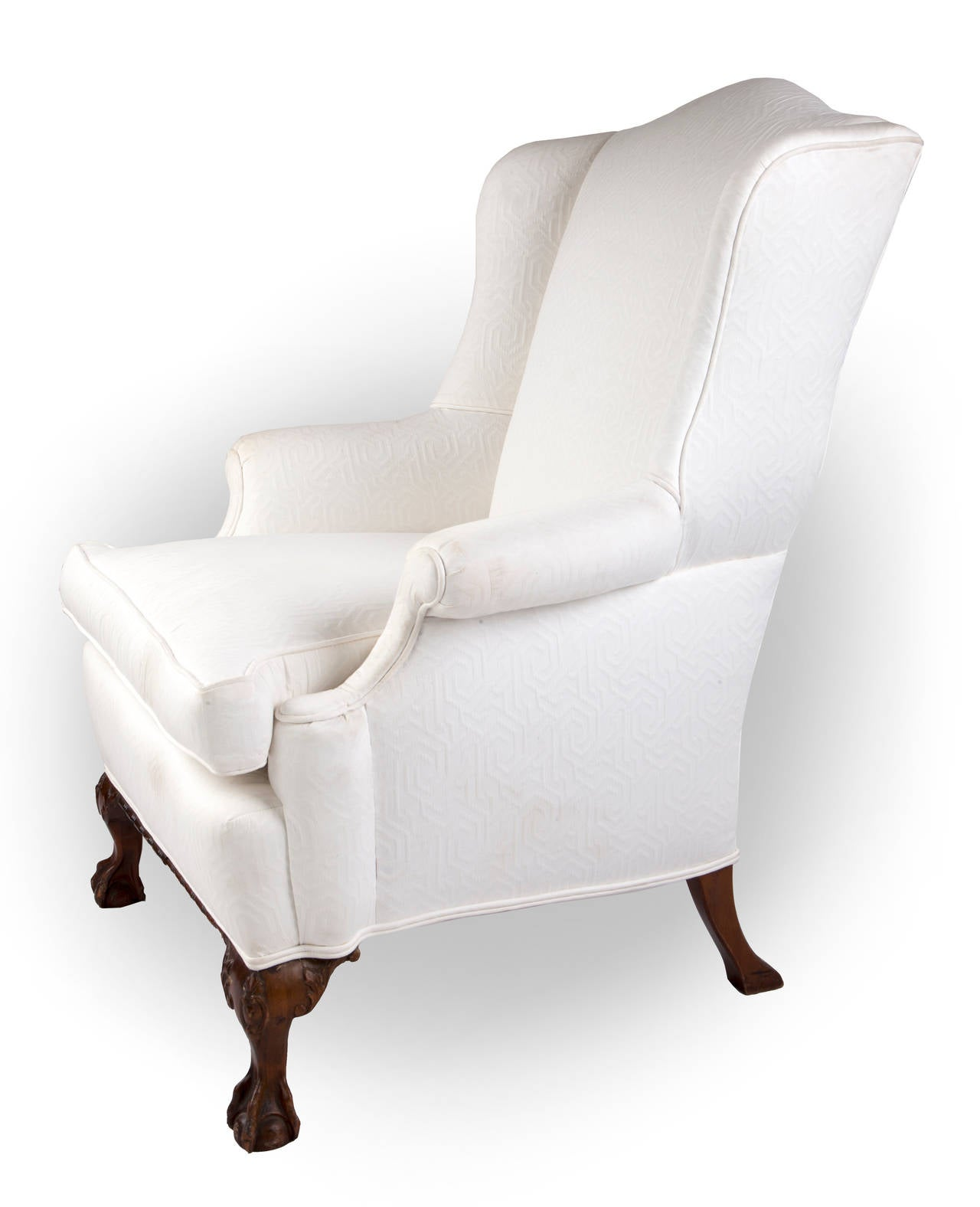 Wingback Chair on Claw and Ball Foot, Mahogany Frame In Good Condition For Sale In Asheville, NC