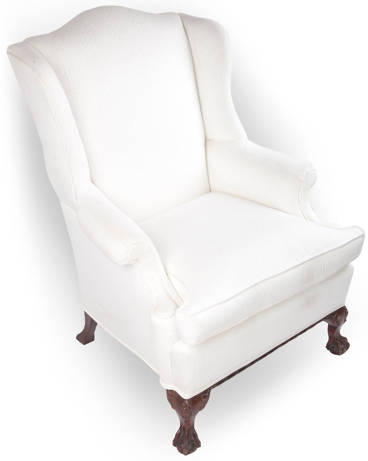 Wingback Chair on Claw and Ball Foot, Mahogany Frame For Sale 2