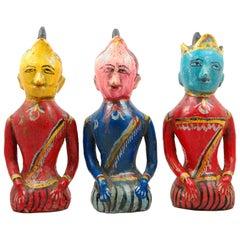 Set Of Three Indian Folk Art  Figures
