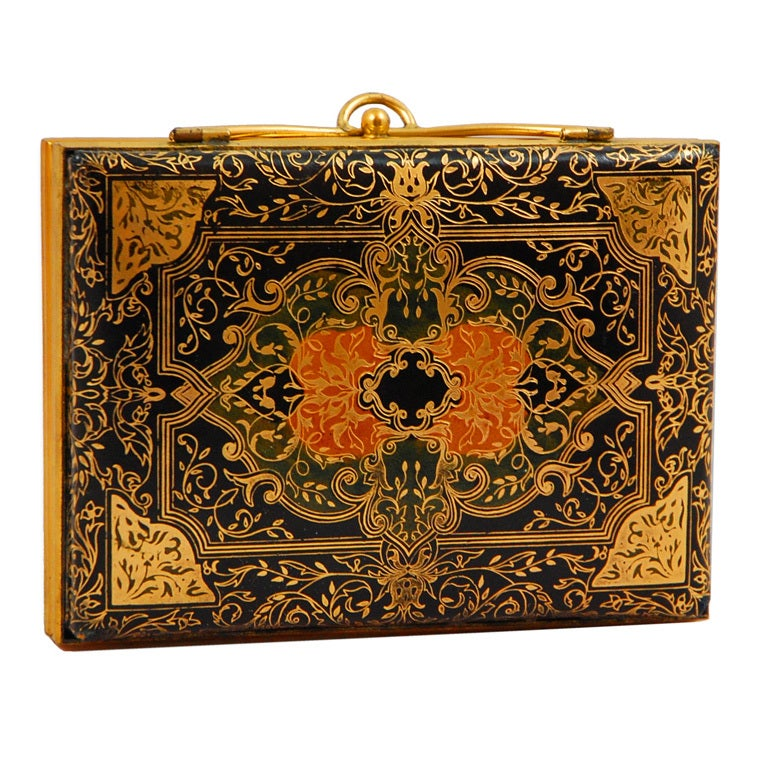 Italian Tooled Leather Evening Clutch With Powder Compact