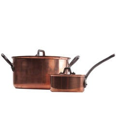 Pair of French Midcentury Gourmet Copper Pots by Baumalu