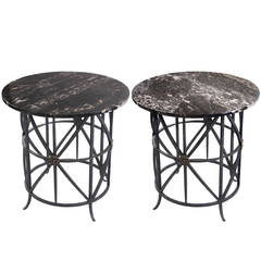 Pair of Midcentury Round Wrought Iron Marble Tables
