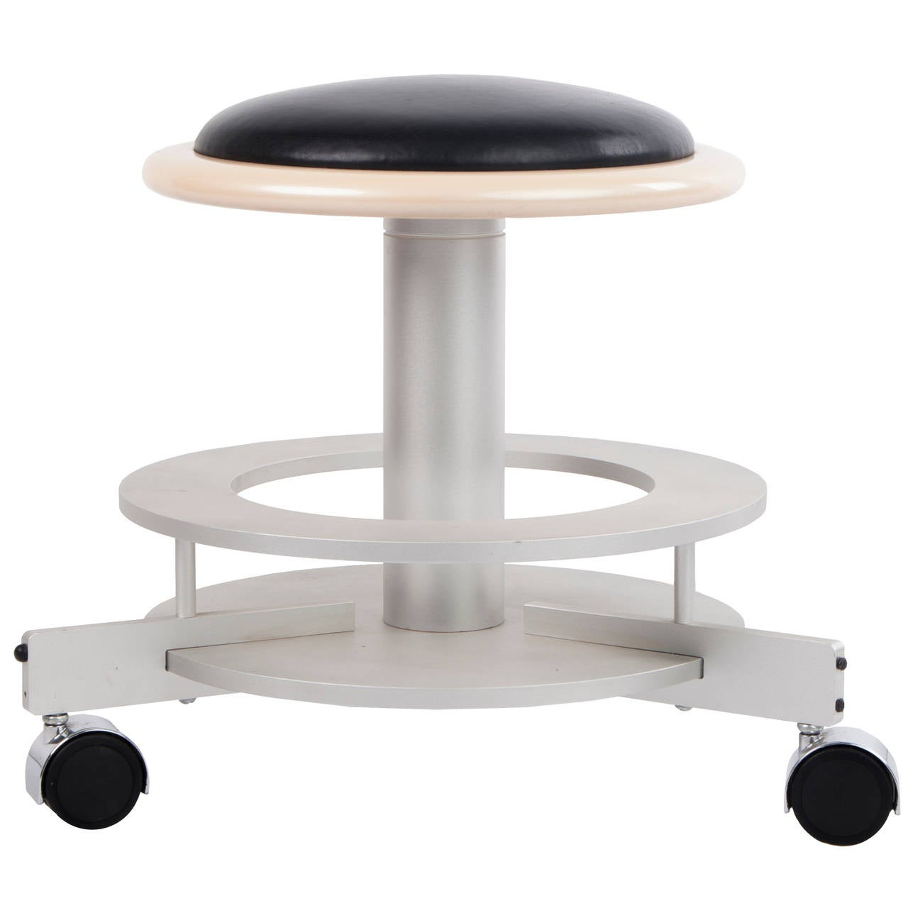 Round Mid-Century Modern Leather Stool on Casters