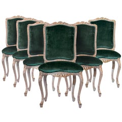 Louis XV Style Carved and Gilded Six Side Chairs