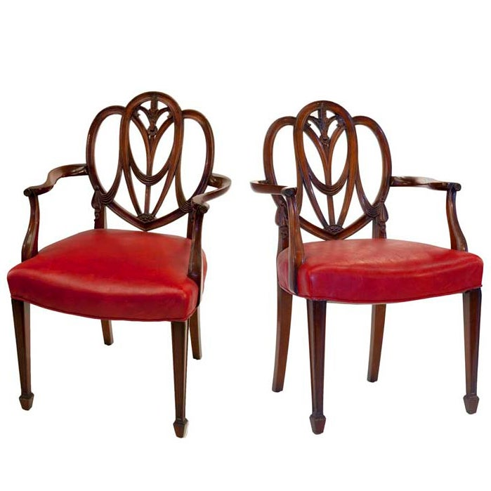 Pair Of Heartback Hepplewhite Chairs For Sale At 1stdibs