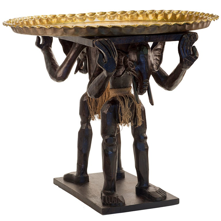 African Elephant Head Occasional Table With Moroccan Brass