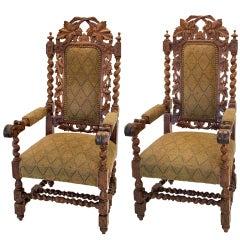 Jacobean Oak Leaf Chairs