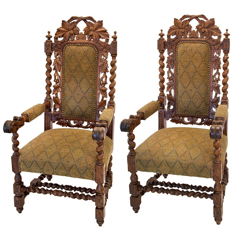 Jacobean Oak Leaf Chairs For Sale
