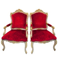 Pair of Louis XV Style Open Armchairs