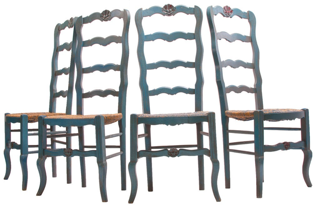 1980 Jacques Grange Table and Chairs from France In Distressed Condition For Sale In Asheville, NC