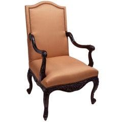 Elegant Jacobean Style Mahogany Armchair
