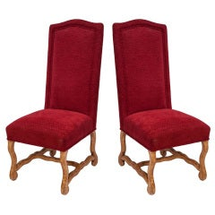 Pair of Jacobean Style Red Velvet Side Chairs