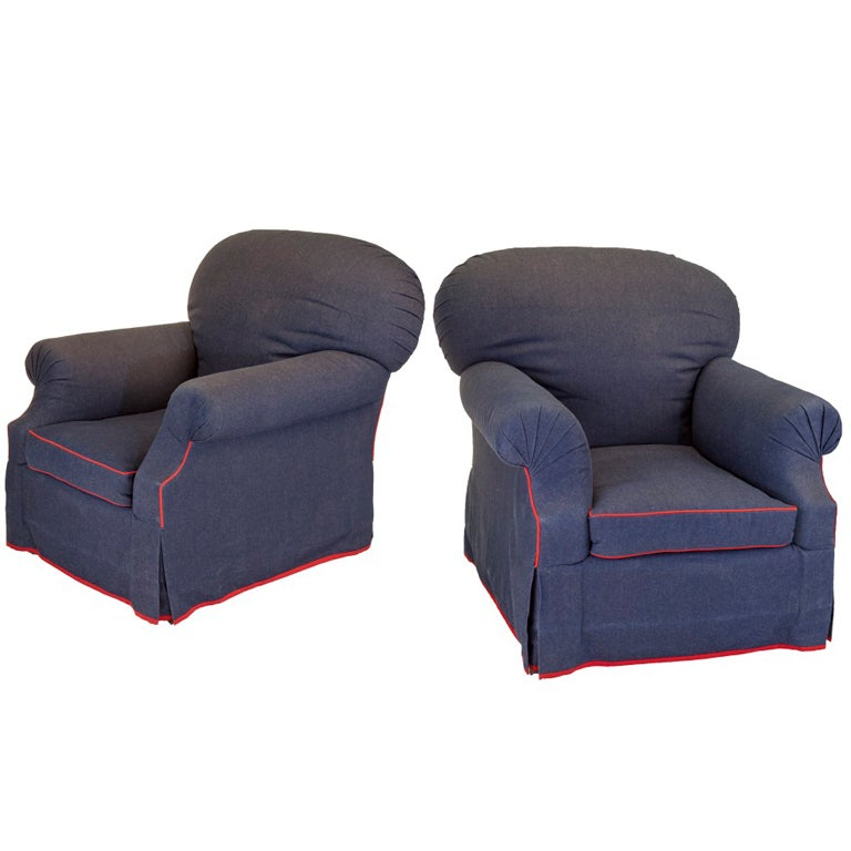 Pair Of Overstuffed Denim Chairs On Casters