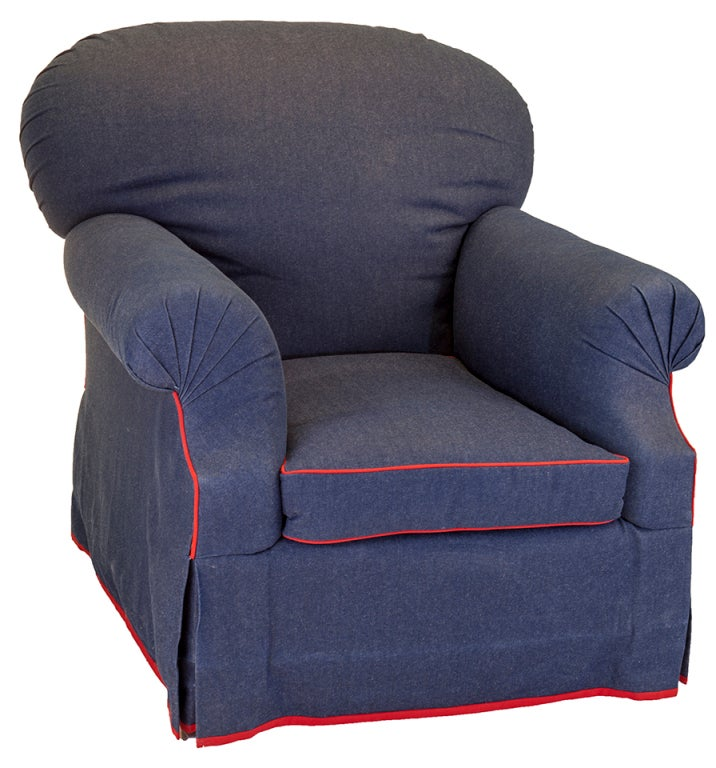 Pair Of Overstuffed Denim Chairs On Casters For Sale At