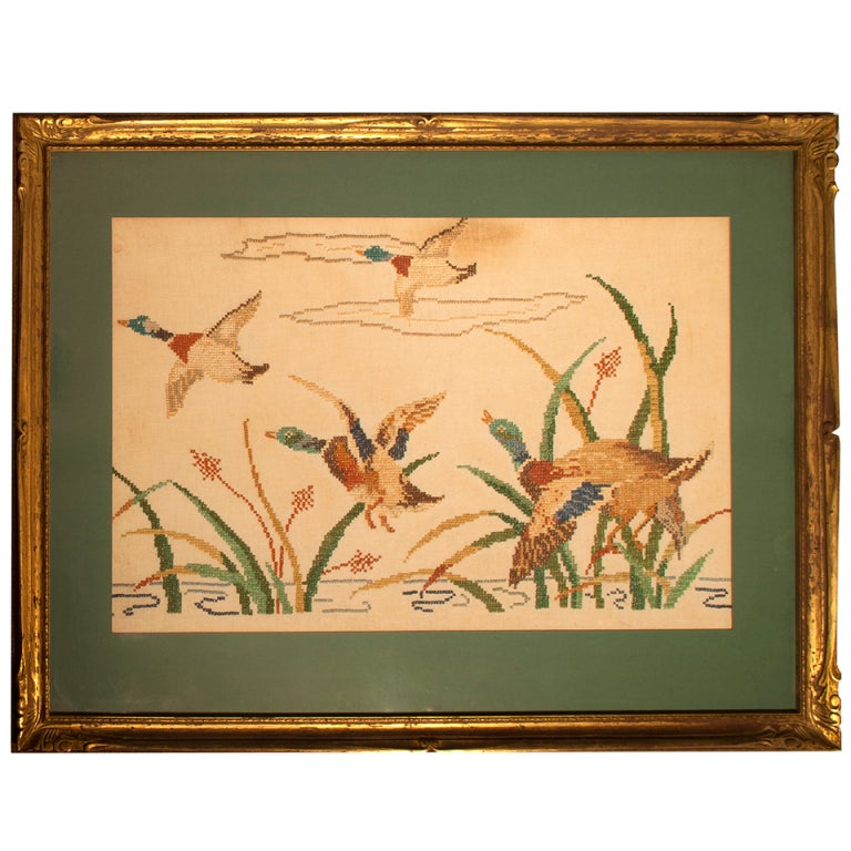 Vintage Needlepoint Mallards in Flight 1