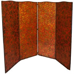Antique Asian Influenced Leather Hinged Screen with Nailhead Trim