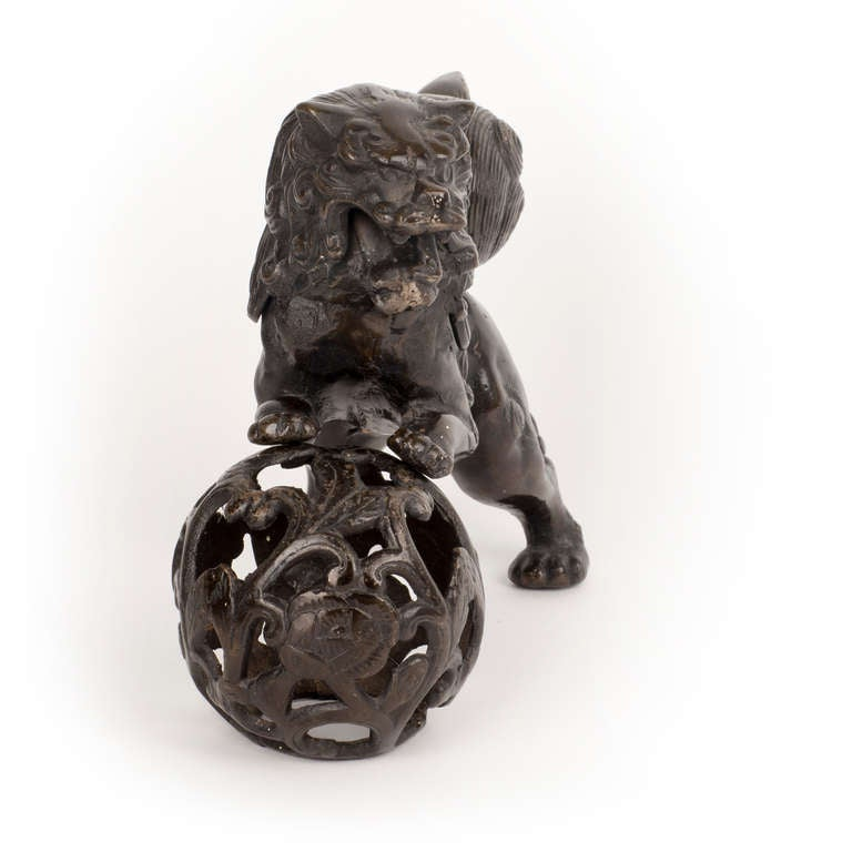 Chinese Cast Iron Foo Dog Sculpture For Sale