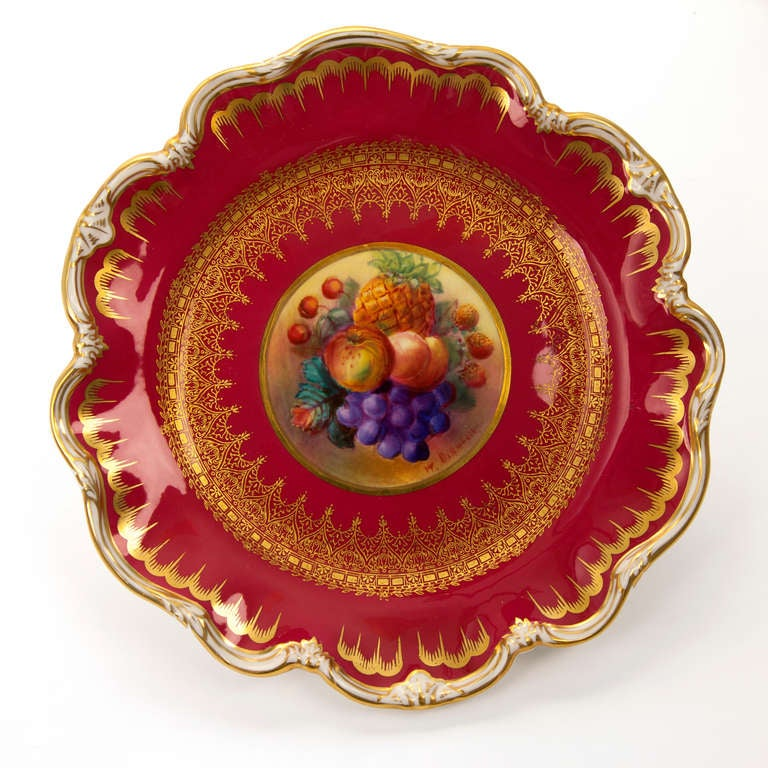 20th Century George Jones Hand Painted Gilt Plates with Fruit For Sale