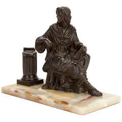 Bronze Sculptured Athenian Scribe on Variegated Agate Pen Tray