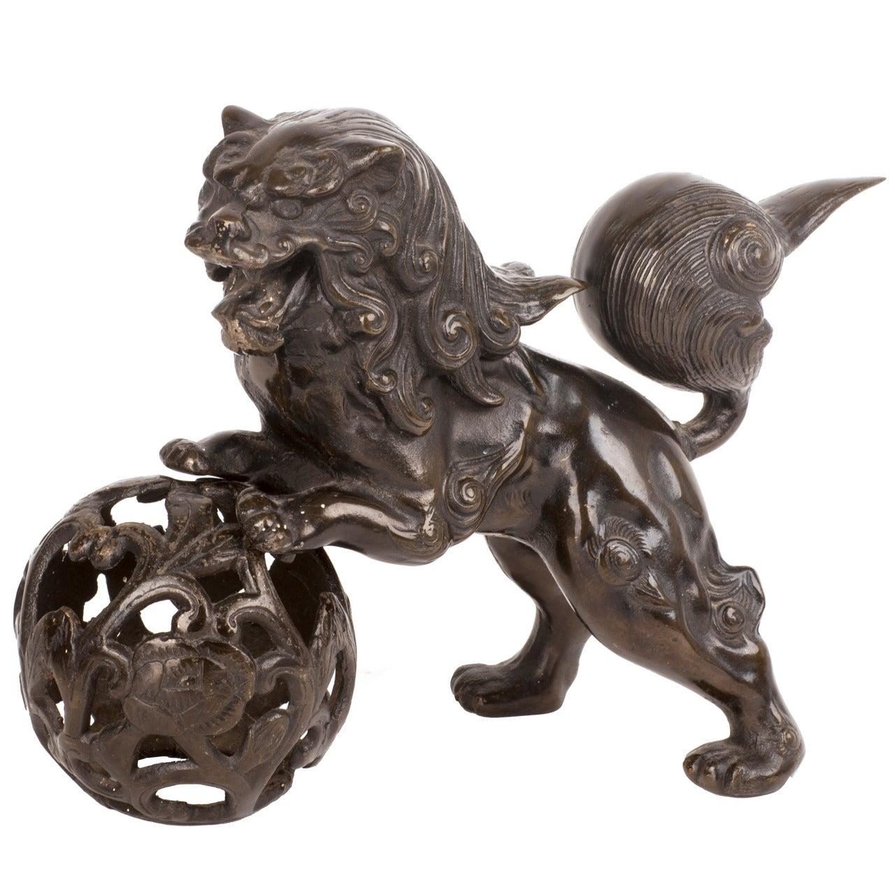 Cast Iron Foo Dog Sculpture