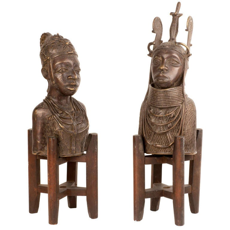 Pair of Bronze Tribal Busts with Stands