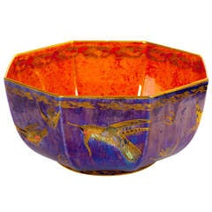 Colorful Wedgwood Lustre Bowl with Hummingbirds