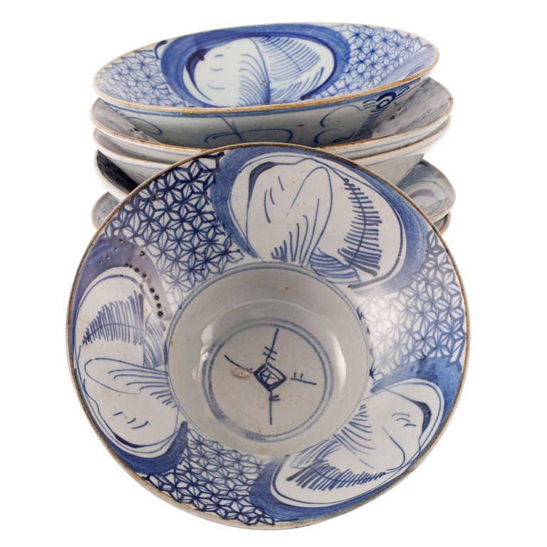 Six Chinese Porcelain Rice Bowls