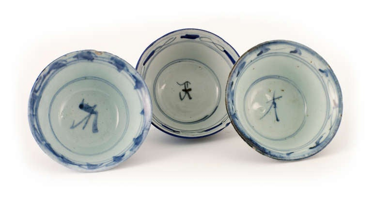 Signed by maker, these three early 20th century rice bowls that have stood the test of time are in marvelous condition.