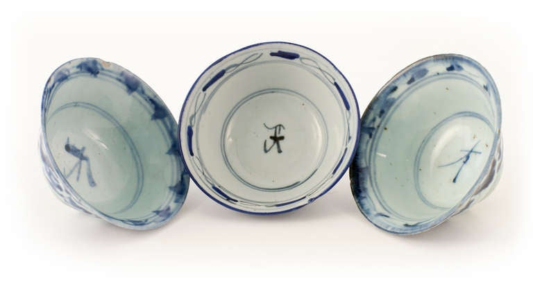 Signed Trio of Mid Century Century Rice Bowls In Good Condition For Sale In Asheville, NC