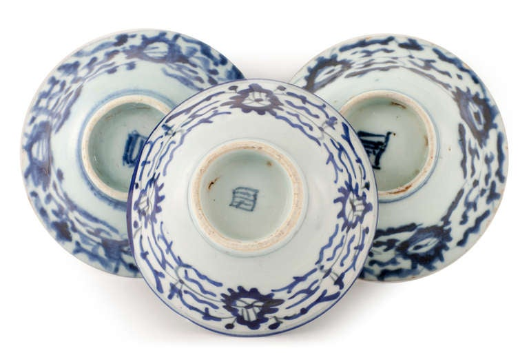 Mid-20th Century Signed Trio of Mid Century Century Rice Bowls For Sale