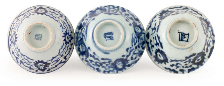 Chinese Signed Trio of Mid Century Century Rice Bowls For Sale