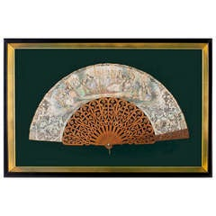 Framed Hand-Carved Sandalwood Fan with Hand Painted Screen