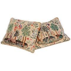 Pair of Mid-Century Needlepoint Pillows Backed in Striate Velvet Welt