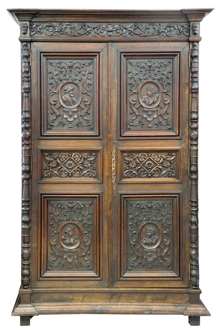 french renaissance style carved oak armoire for sale at. Black Bedroom Furniture Sets. Home Design Ideas