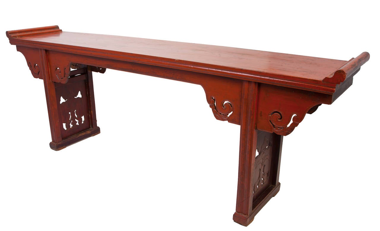 Mid 19th Century Carved Chinese Altar Table 2