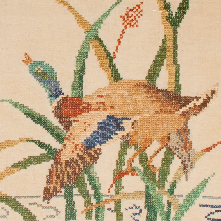 Vintage Needlepoint Mallards in Flight 4