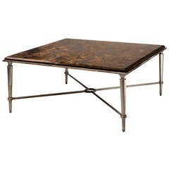 Fossil Stone Veneer and Painted Iron Cocktail Table