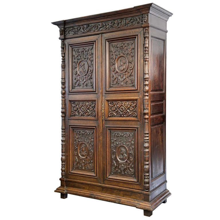 French Renaissance Style Carved Oak Armoire For Sale