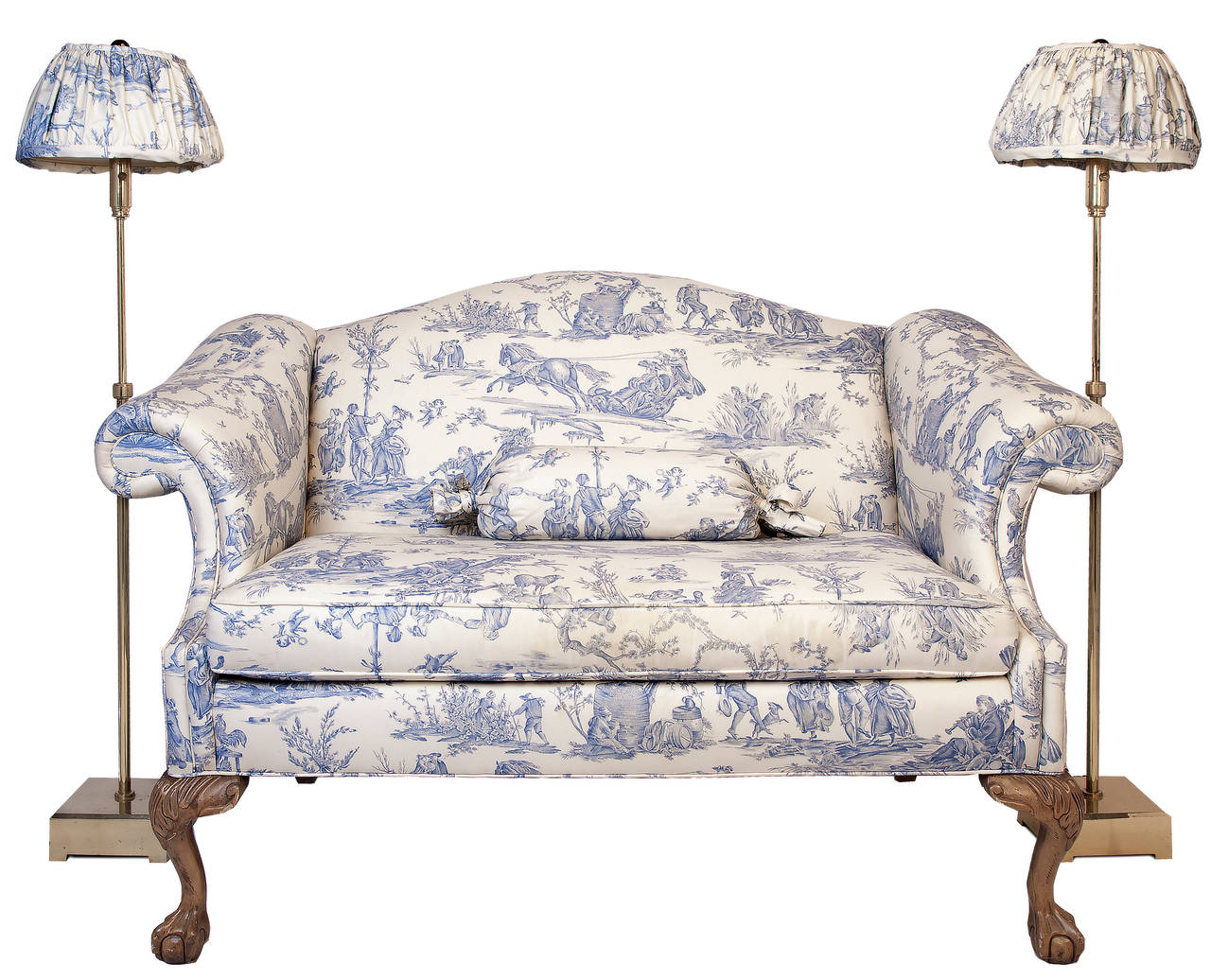Chippendale Style Camel Back Loveseat With Coordinating