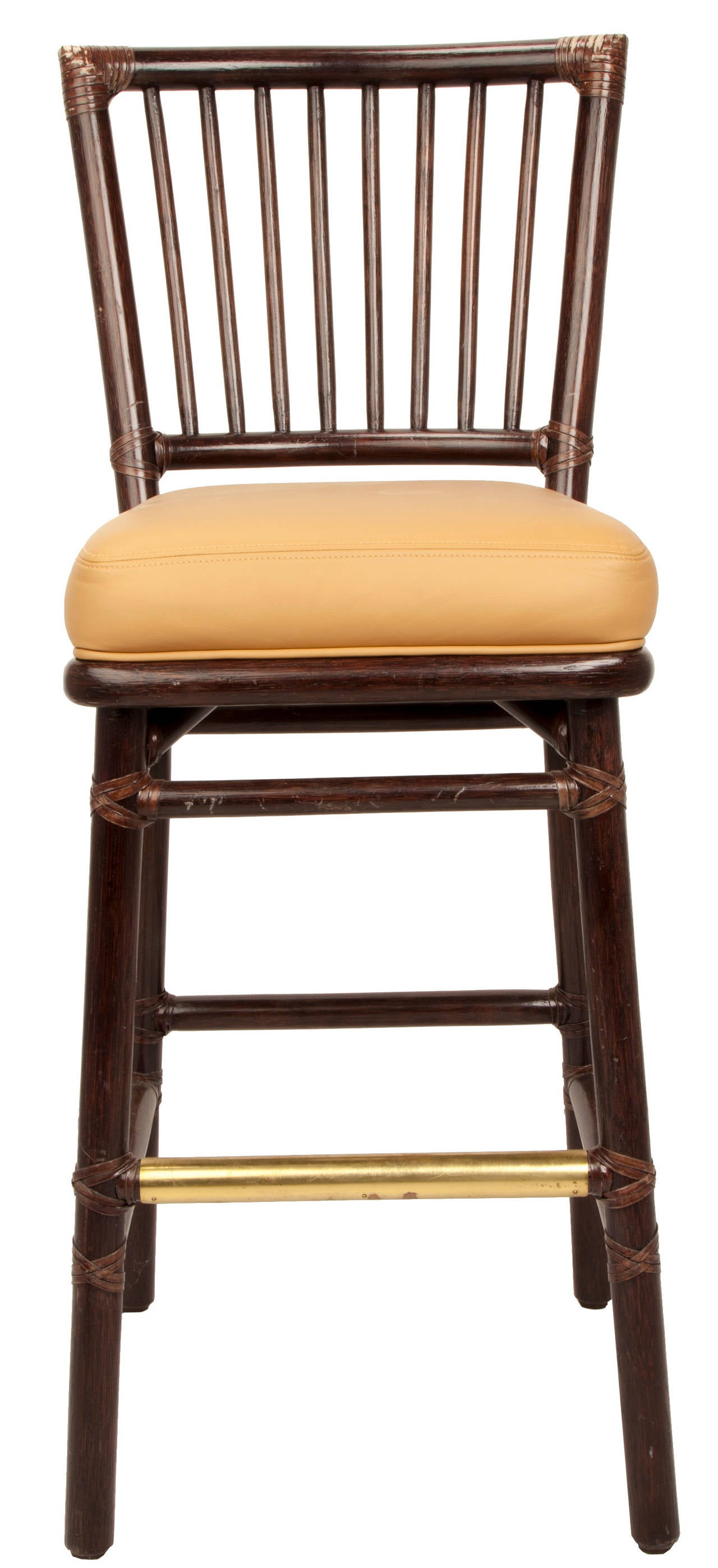 Set Of Seven Mcguire Bar Stools At 1stdibs