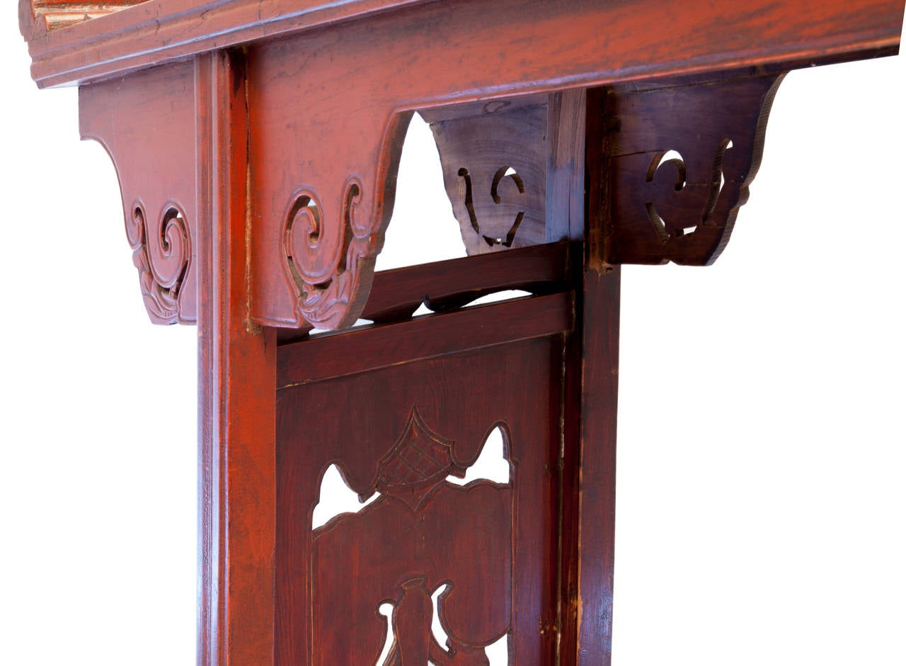 Gentil Mid 19th Century Carved Chinese Altar Table In Good Condition For Sale In  Asheville,