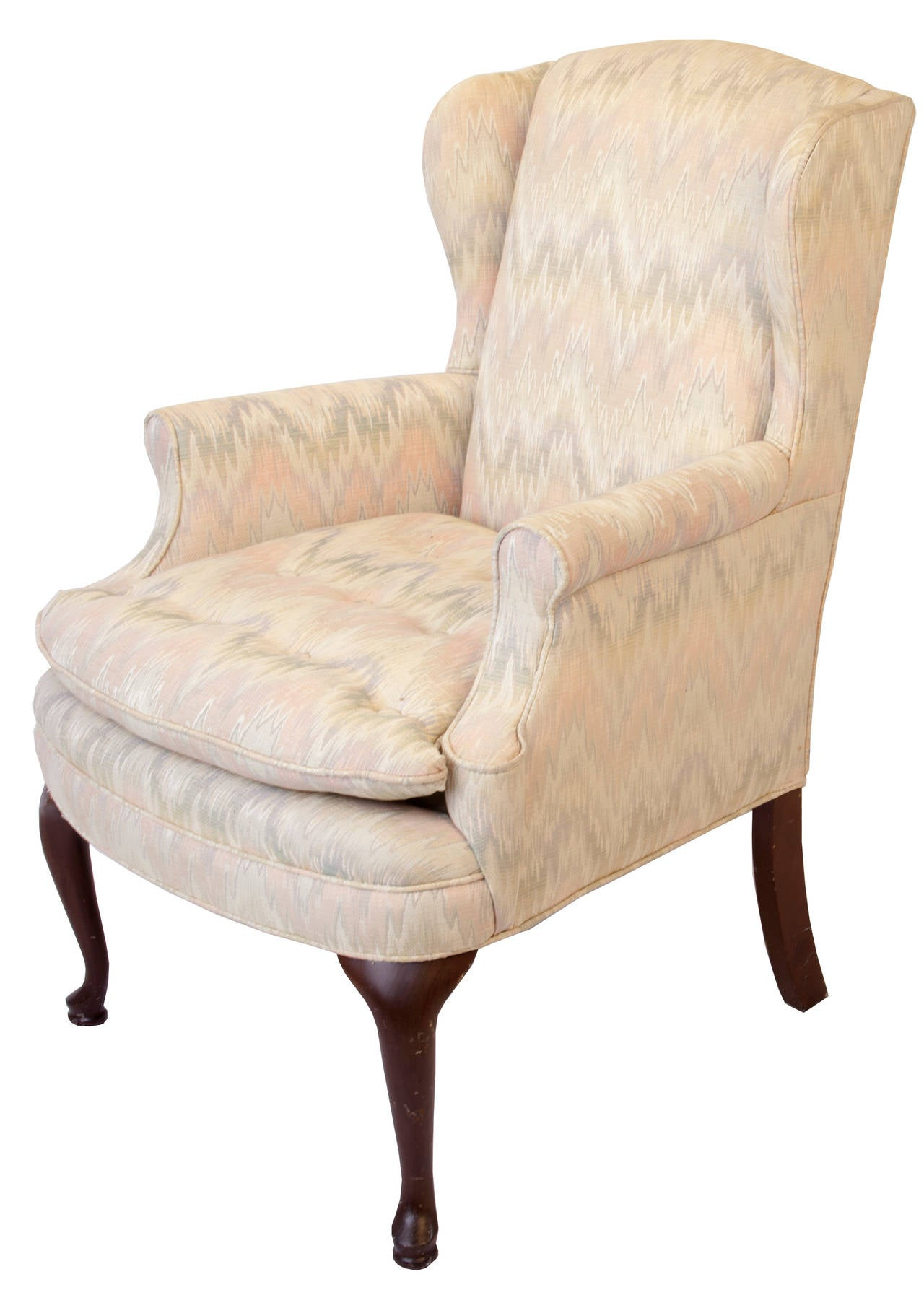 Queen Anne Style Upholstered Wing Chair In Good Condition For Sale In Asheville, NC