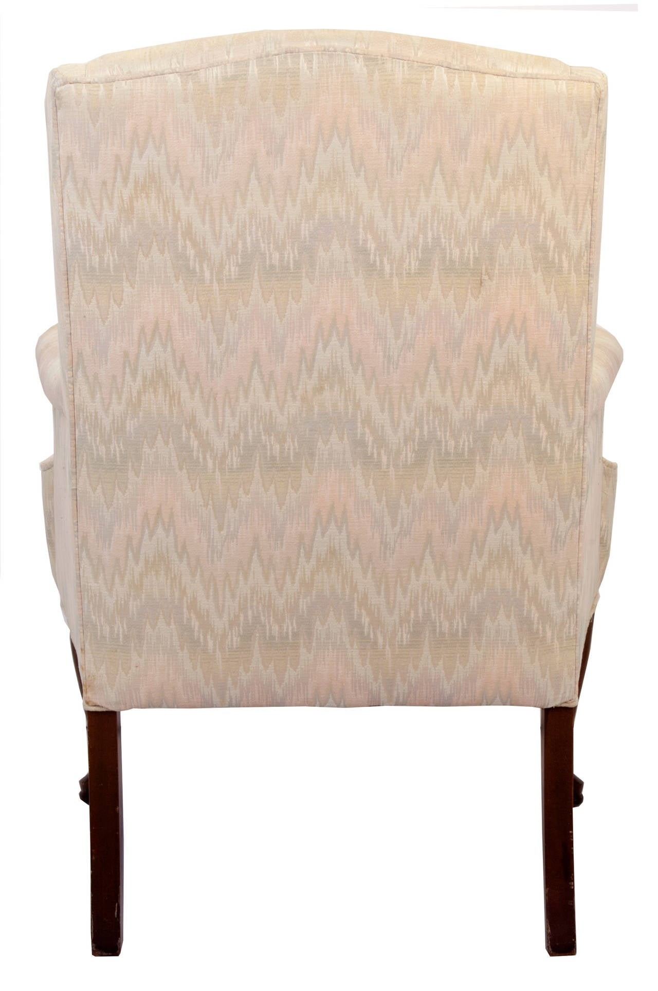 Queen Anne Style Upholstered Wing Chair For Sale at 1stdibs