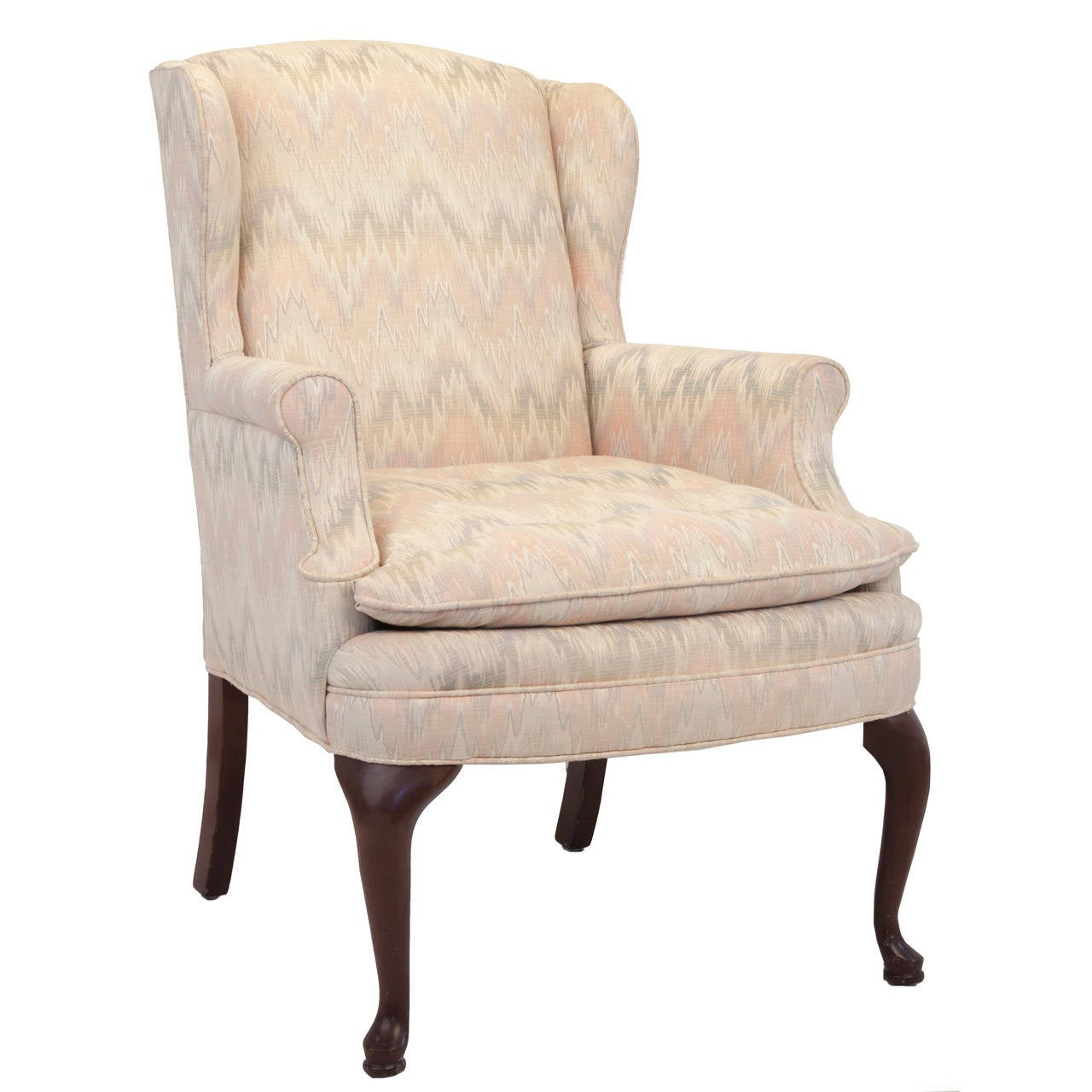 Queen anne style upholstered wing chair for sale at 1stdibs for Queen anne furniture