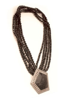 Beaded Jet Necklace with Jet Stone from India signed by Artist