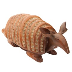 Hand-Carved Wood Armadillo