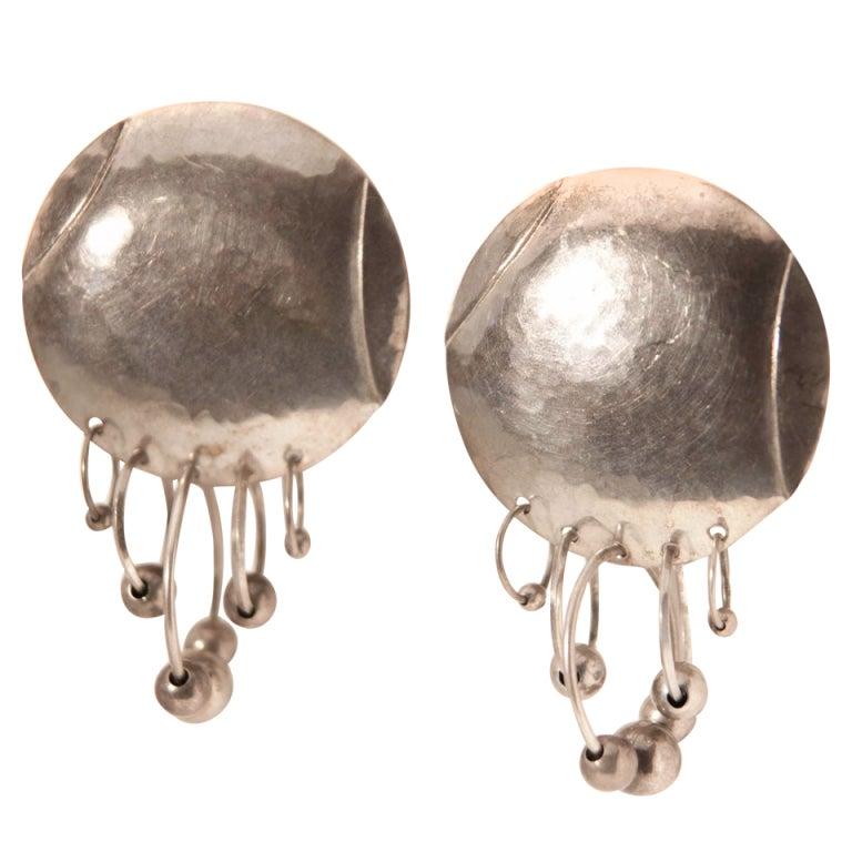Vintage India Handmade Hammered Silver Earrings